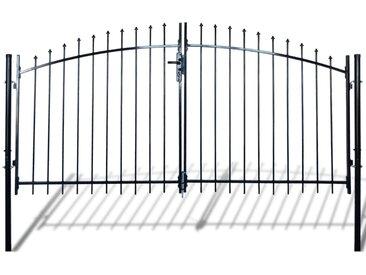 Double portail avec haut sous forme de lance 300 x 175 cm - vidaXL