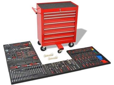 Chariot à outils pour atelier avec 1 125 outils Acier Rouge - vidaXL