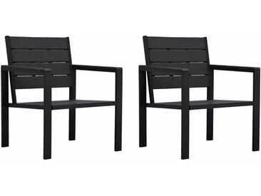 Chaises de jardin 2 pcs Noir PEHD Aspect de bois - vidaXL