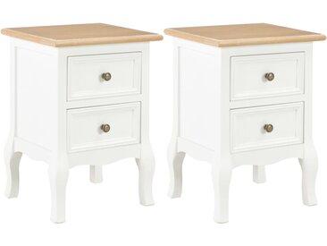 2 pcs Table de chevet Blanc 35x30x49 cm MDF - vidaXL