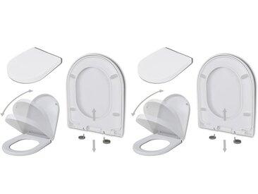Abattant WC avec frein de chute 2 pcs Plastique Blanc - vidaXL