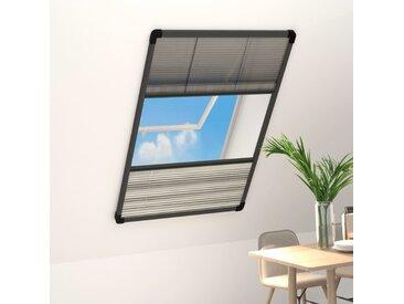 Moustiquaire plissée pour fenêtre Aluminium 80x160 cm et auvent - vidaXL