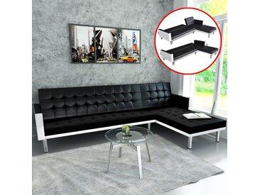 Canapé-lit d'angle Cuir synthétique Noir  - vidaXL