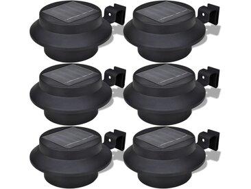 Lampes solaires 6 pcs pour clôture gouttière Noir   - vidaXL