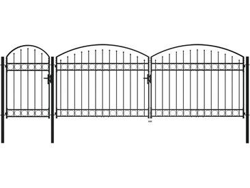 Portail de jardin avec dessus arqué Acier 1,75 x 5 m Noir - vidaXL