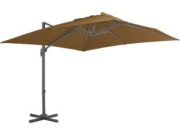 Parasol en porte-à-faux avec mât en aluminium 300x300 cm Taupe - vidaXL