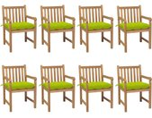 Chaises de jardin 8 pcs avec coussins vert vif Teck solide - vidaXL