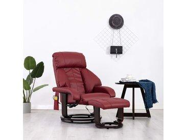 Fauteuil de massage TV Rouge bordeaux Similicuir - vidaXL