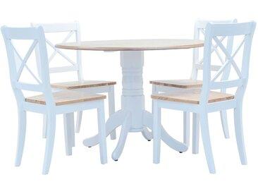 Ensemble de salle à manger 5 pcs Bois d'hévéa Blanc et marron - vidaXL