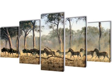 Set de toiles murales imprimées Zèbres 200 x 100 cm - vidaXL