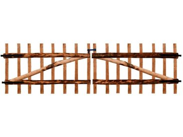Portillon double de clôture Bois noisetier imprégné 300x90 cm - vidaXL