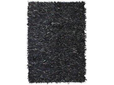 Tapis shaggy Cuir véritable 190 x 280 cm Gris - vidaXL