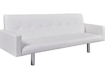 Canapé-lit avec accoudoir Cuir synthétique Blanc  - vidaXL