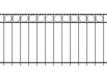 Panneau de clôture Acier 1,96x1 m Noir - vidaXL