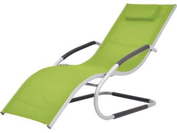 Chaise longue avec oreiller Aluminium et textilène Vert - vidaXL