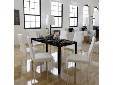 Ensemble de table à manger sept pièces noir et blanc - vidaXL