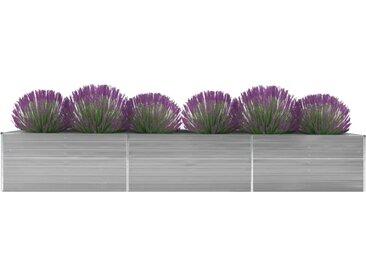 Lit surélevé de jardin Acier galvanisé 480x80x77 cm Gris - vidaXL