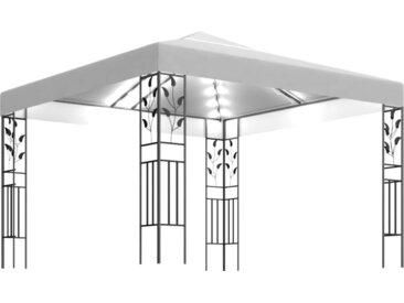 Tonnelle avec guirlande lumineuse 3x3 m Blanc 180 g/m² - vidaXL