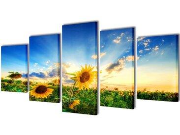 Set de toiles murales imprimées Tournesols 200 x 100 cm - vidaXL