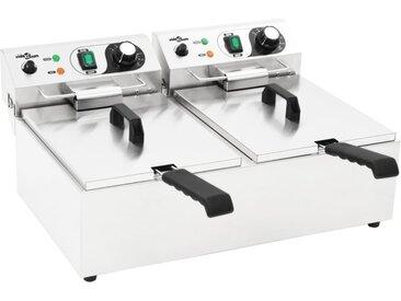 Friteuse double électrique Acier inoxydable 20 L 6000 W - vidaXL