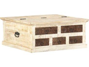 Table basse Blanc 68x68x30 cm Bois de manguier solide - vidaXL