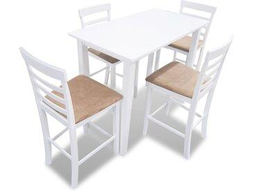 Set table et 4 chaises de bar en bois coloris blanc - vidaXL