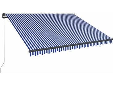 Auvent manuel rétractable 450x300 cm Bleu et blanc - vidaXL