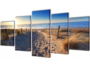 Set de toiles murales imprimées Plage de sable 200 x 100 cm - vidaXL