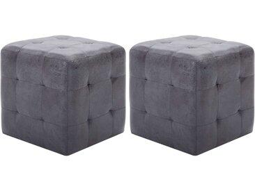 2 pcs Tables de chevet Gris 30x30x30 cm Similicuir daim - vidaXL