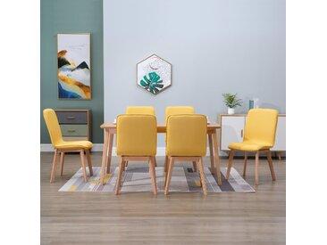 Chaises de salle à manger 6 pcs Jaune Tissu - vidaXL
