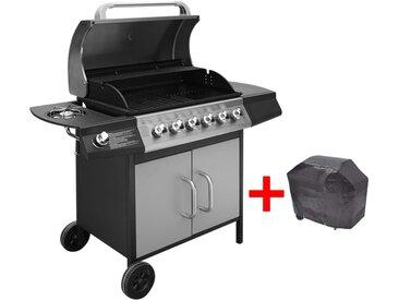 Barbecue à gaz 6 + 1 zone de cuisson Noir et argenté  - vidaXL