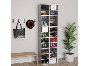 Armoire à chaussures Gris béton 54x34x183 cm Aggloméré - vidaXL
