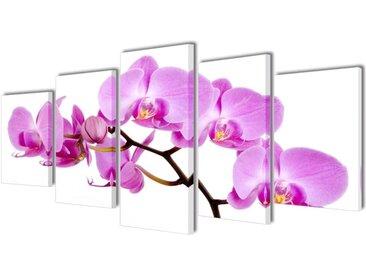 Set de toiles murales imprimées Orchidée 200 x 100 cm - vidaXL