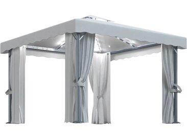 Tonnelle avec rideau et guirlande lumineuse 3x3 m Blanc crème - vidaXL