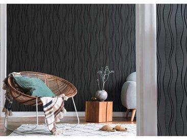 Rouleaux de papier peint Non tissé 4 pcs Noir 0,53x10 m Vagues - vidaXL