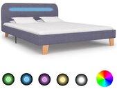 Cadre de lit avec LED Gris clair Tissu 140 x 200 cm - vidaXL