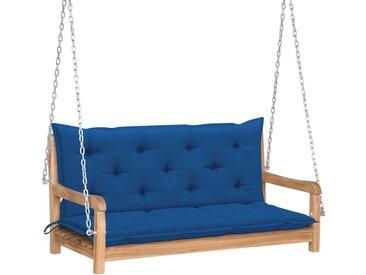 Balancelle avec coussin bleu 120 cm Bois de teck solide - vidaXL