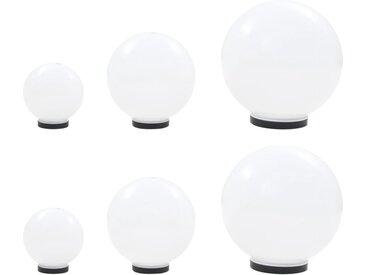 6 pcs Jeu de lampe boule à LED PMMA sphérique 20/30/40 cm - vidaXL