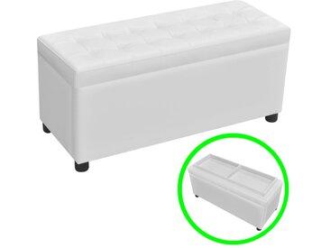 Pouf de rangement Cuir synthétique Blanc - vidaXL