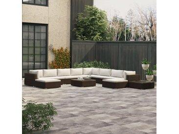 Salon de jardin 12 pcs avec coussins Résine tressée Marron - vidaXL