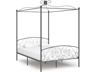 Cadre de lit à baldaquin Gris Métal 120 x 200 cm - vidaXL