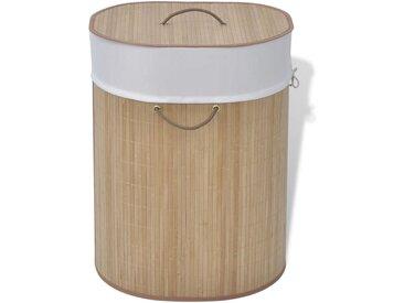Panier à linge ovale Bambou naturel - vidaXL