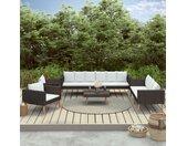 Salon de jardin 5 pcs avec coussins Résine tressée Noir - vidaXL