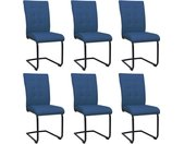 Chaises de salle à manger cantilever 6 pcs Bleu Tissu  - vidaXL