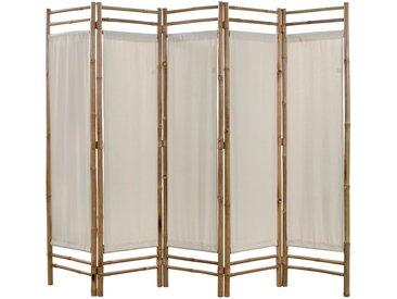 Cloison de séparation pliable 5 panneaux Bambou et toile 200 cm - vidaXL