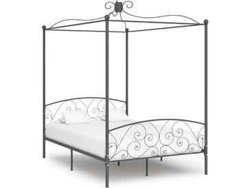 Cadre de lit à baldaquin Gris Métal 140 x 200 cm - vidaXL
