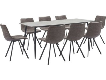 Ensemble de salle à manger 9 pcs Marron Similicuir - vidaXL