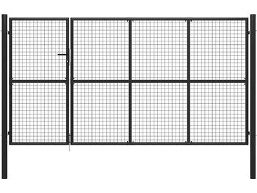 Portail de jardin Acier 350 x 100 cm Anthracite - vidaXL