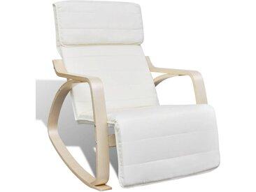 Chaise à bascule Crème Bois cintré et tissu  - vidaXL