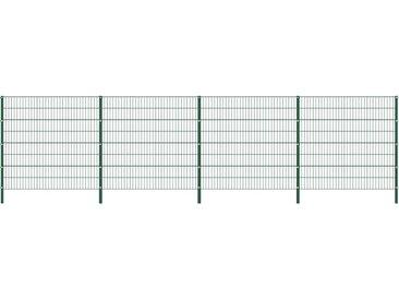 Panneau de clôture avec poteaux Fer 6,8 x 1,6 m Vert - vidaXL